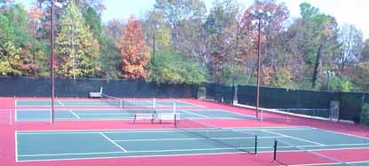 Image of three side by side outdoor tennis courts
