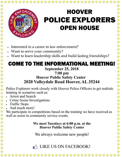 Hoover Police Explorers Open House