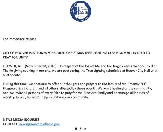 Annual Christmas Tree Lighting Ceremony - Postponed