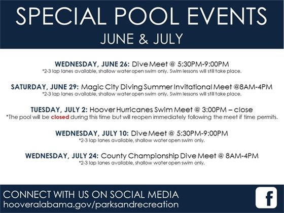 June and July special pool events.
