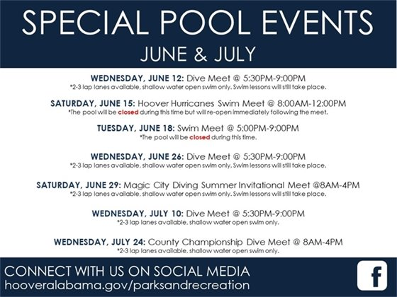 Hoover Recreation Center indoor pool special events for June and July.